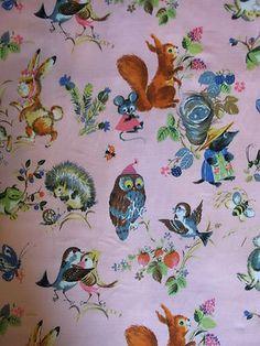 "Vintage 1950's Barkcloth ""Gallivant"" Woodland Animals Kitsch Novelty Print"