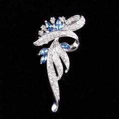 $3.92 Graceful Rhinestone Faux Sapphire Leaf Brooch For Women