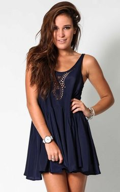 summer outfits womens fashion clothes style apparel clothing closet ideas dark blue short dress http://www.stylewarez.com