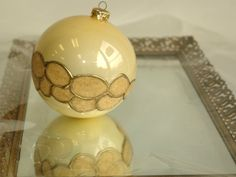 hand painted Christmas Ornament Blown Glass Ball  by aniamelisa, $18.50