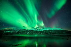 Green lights of Aurora Borealis.