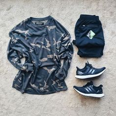 WEBSTA @ timothykoh_ - Raf x Yeezy Camo'd out. #outfitgridTee: #YeezySeason1 Camo L/s teeShorts: @rafsimons 'No-no' shortsSneakers: @adidas Ultraboost