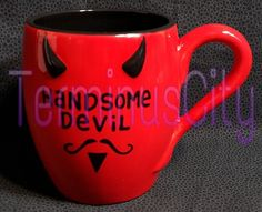 OURNAMEISMUD #HANDSOMEDEVIL #COFFEE #MUG #Red #Black #Horns #Mustache #Tea #Kitchen