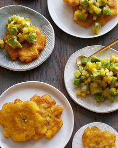 Tostones Recipe from Gaby Dalkin's Absolutely Avocados // Tostones made with ripe yellow to yellow-black plantains and topped with avocado, mango, and red onions. #plantain #recipe