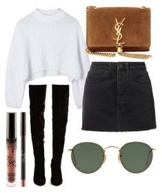 """FALLing in love"" by jadenriley21 on Polyvore featuring Ksubi, Christian Louboutin, Yves Saint Laurent and Ray-Ban"