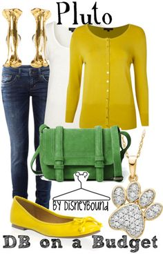 Disney Bound: Pluto from Mickey Mouse Clubhouse; DB on a Budget Outfit Disney Themed Outfits, Disney Bound Outfits, Princess Outfits, Disney Dresses, Disney Clothes, Pluto Disney, Disney Inspired Fashion, Disney Fashion, Estilo Disney