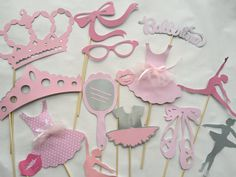 Hi there: please make sure your etsy info is up do date with your address before placing order. Here we have these 16 pc adorable Ballerina photo booth props. The colors are pinks, grey and a hint of pink. Besides using them for photo ops, these are great for kids party, candy