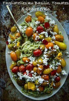 Tagliatelles au Basilic, Tomates et Chèvre frais