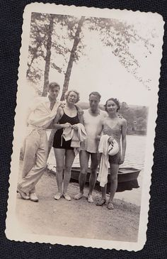 Old Vintage Antique Photograph Two Couples Wearing Bathing Suits By Water
