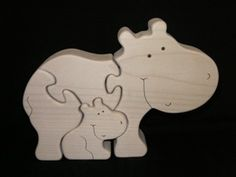 Scroll saw Hippo Mum & Baby. I Know who will want one of these