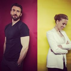 Chris Evans and Scarlett Johansson. loved them since the nanny diaries
