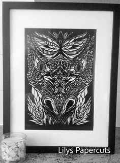 A Handcut Framed Ator The Dragon Handmade Papercut Artwork..