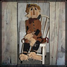 """43"""" tall primitive country style hand embroidered by LucysLazyDayzFolkArt, $75.00 #fall doll #porch decoration #Halloween decoration #large scarecrow"""