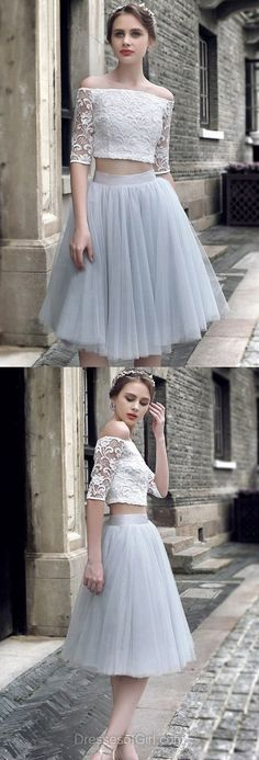 Two Piece Homecoming Dress, Lace Homecoming Dresses, Fashion Homecoming Dress,Sexy Party Dress,Custom Made Evening Dress