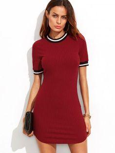 Burgundy Striped Trim Ribbed Knit Bodycon Dress
