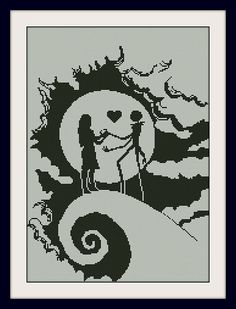Sally and Jack Skellington Nightmare Before Christmas cross-stitch