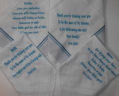 Zakdoekjes voor de familie. http://www.borduurkoning.nl/shop/diversen/zakdoeken