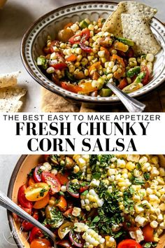 If you are looking for an easy to make appetizer or dip to wow a crowd, you will want to try out Fresh Chunky Corn Salsa recipe. With just a few fresh, simple ingredients this comes together to make the perfect Fresh Corn Salsa. Use it as a topping or dip for your favorite chips or veggies. A fall appetizer that is sure to be a favorite. #ChunkyCornSalsa #FallDip #LifeisbutaDish Easy To Make Appetizers, Fall Appetizers, Healthy Appetizers, Appetizer Recipes, Healthy Snacks, Easy Summer Meals, Healthy Summer Recipes, Clean Eating Recipes For Dinner, Dinner Recipes
