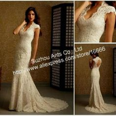 Awesome lace wedding dresses with cap sleeves and open back