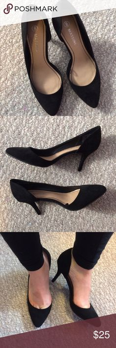 NWOT Black Suede Kitten Heels Perfect condition! Never worn (except for taking the pictures). The heels are very short Kitten heels which make them very easy to walk in. Massini Shoes Heels