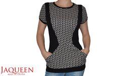 Shirt schwarz Punkte Jersey elegant Tasche Polka von JaqueenFashion