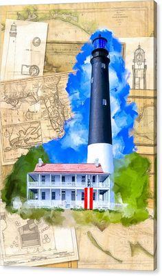 Vintage Collage Canvas Print featuring Pensacola Lighthouse - Florida Nostalgia by Mark Tisdale