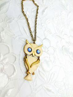 Vintage Owl Pendant, Gold Tone, Enamel, Blue Eyes, boho, retro, HALF OFF SALE, Item No. B494 by ESTATENOW on Etsy https://www.etsy.com/listing/239735613/vintage-owl-pendant-gold-tone-enamel