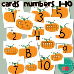 Autumn Math Center - Pumpkins Ten Frames Flash Cards or Matching Game + Worksheets