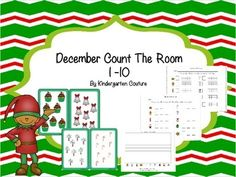 There are 10 Christmas pictures in this count the room.  There are 3 recording sheets. The first recording sheet has a place to record the number counted and a blank ten frame to color in how many.  The second recording sheet has a place to record the number counted and spaces to write the next two numbers.