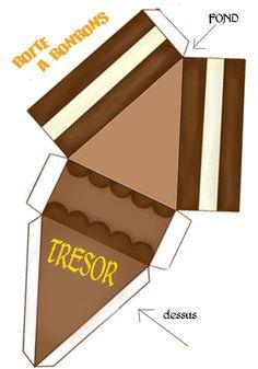 BOITE_TRIANGLE_BONBONS Paper Box Template, Cake Templates, Diy Gift Box, Diy Box, Paper Toys, Paper Crafts, Diy Crafts, Cadeau Surprise, Ice Cream Theme