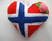 Made to Order Heart Felt NORWAY Flag Love Heart Valentine Wedding Olympics hanging ornament decoration Norwegian National Flag