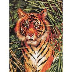 Colart Tiger on Prowl Acrylic PBN 9'' x 12''