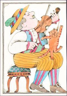 Vintage illustration page from The Cat and the Fiddler illustrator Lionel Kalish