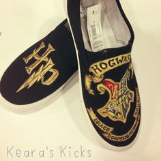 Harry Potter Hogwarts Crest Hand Painted Shoes by TheSneakFreak