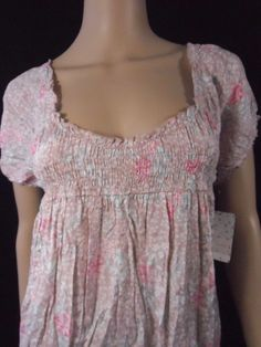 NEW Free People Boho Prairie Taupe Floral Smocked Dress Size L NWT 98.00