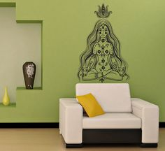 Housewares Wall Vinyl Decal Girl Meditates in the Lotus Position Patterns Art Indian Design Murals Interior Decor Sticker