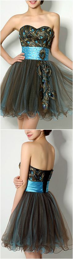 Special Black Peacock Short/Mini Sweetheart Feather Prom Dress