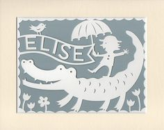Personalised Nursery Wall Art - Handcut Papercut - Name of your choice