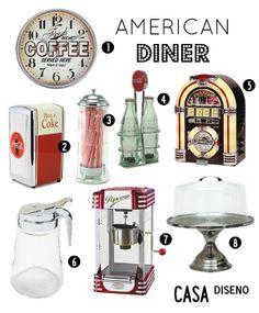 American Inspired Diner. Chosen by Casa Diseno LLC Decoration Inspiration: 1950s American Diner