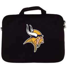 """NFL Minnesota Vikings Laptop Bag by Siskiyou. $17.99. Our Minnesota Vikings neoprene laptop bags is designed to fit 15"""" and most 17"""" laptops and are approved to pass airport security without removing the equipment from the bag. Some 17"""" laptops are designed with a wider border and may not fit this bag. (inner bag dimensions: 11 ¾""""t x 15""""w)"""
