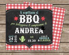 Invito di compleanno stampabile fronte e retro per barbecue - stile western su lavagna e sfondo a quadretti Vichy - formato quadrato