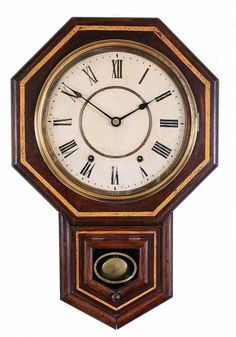 LOT 397 Seller's Estimate: USD 400 - 500 Clocks- 2 (Two): (1) Ansonia Clock Co., New York, NY,  Office Regulator  wall hanging clock with a spring driven 8 day time and hour strike movement in a black