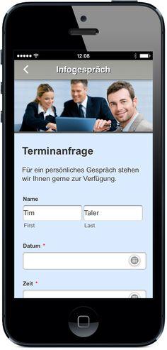 Ihre App für Bildung und Schule - Mit dem Email Kontaktformular mobil zum Informationsgespräch anmelden und Unterlagen anfordern. App jetzt live testen: http://nextvisionapps.com/de/online-demo-bildung