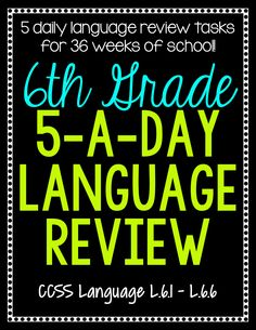 A daily spiral language review for sixth grade. Preview and Review important 6th grade language concepts all year long! Perfect for homework, morning work, or test prep!