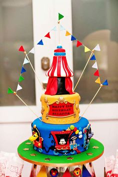 AMAZING Mickey Mouse Carnival Birthday Cake!