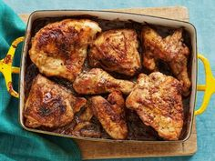 Baked Lemon Chicken - Once you sizzle flour-dredged, bone-in chicken on the stove until nice and crispy, simply finish it off in the oven, basting with the chicken's lemon-infused juices, to lock in big, bright flavor. http://www.foodnetwork.com/recipes/food-network-kitchen/baked-lemon-chicken-recipe