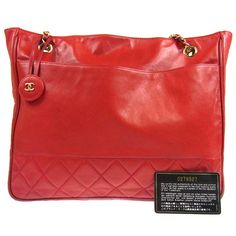 Authentic Chanel Chain Shoulder Bag Lamb Skin Leather Quilted Red Vintage B15956 | eBay