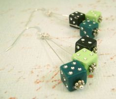 Six by Six - Green and Black Dangling Dice Earrings. $10.00, via Etsy.