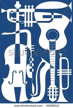 stock vector : Abstract blue musical instruments, vector illustration.