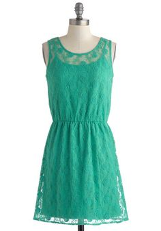 Shore Enough Dress - Green, Solid, Lace, Party, A-line, Tank top (2 thick straps), Scoop